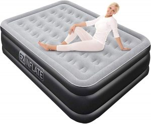 Ez Inflate Luxury Double High Queen Air Mattress with Built-in Pump