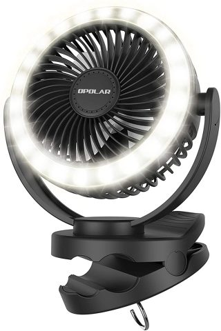 Opolar 10000mAh Clip on Fan for Camping with 22 LED Light Beads