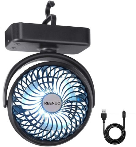 Reenuo Rechargeable Camping Fan with LED Lights